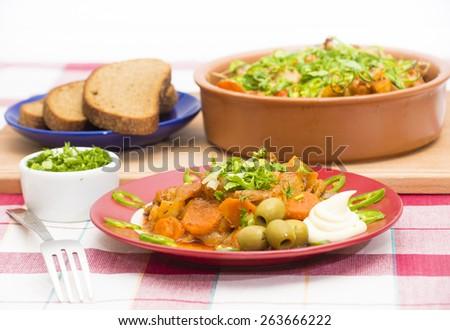 Polenta with Tomato-Vegetable Sauce