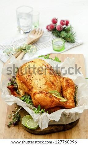baked chicken with herbs - stock photo