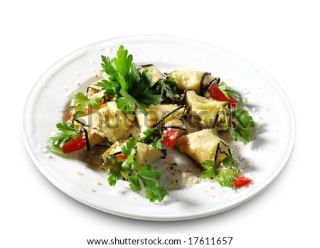 Baked Eggplant Plate Dressed with Parsley and Tomato. Isolated on White Background - stock photo