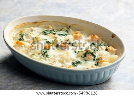 baked gnocchi with salmon and spinach