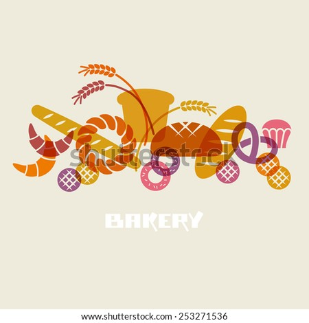 Baked goods icons. Set of flour products from bakery or pastry shop. Food sign. Illustration for print, web - stock photo