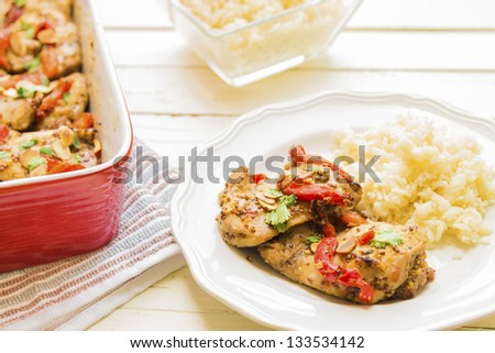 mustard chicken thighs with roasted red bell peppers, toasted almonds ...
