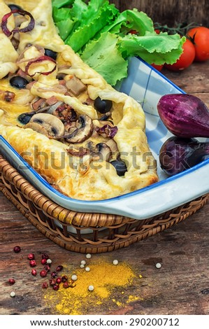 baked in the oven meat shawarma with vegetables in a rustic style.The image is tinted.Selective focus - stock photo