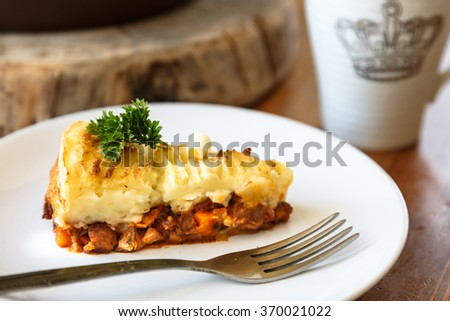 Baked Irish pie with minced meat on a plate - stock photo