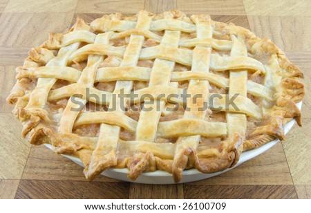 Baked lattice apple pie - stock photo