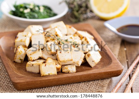 Baked marinated tofu with herbs and spices - stock photo