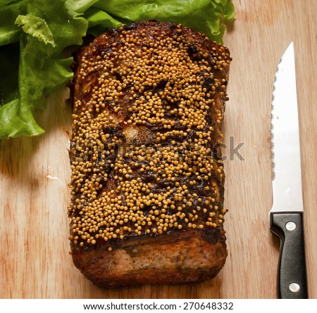 baked meat, selective focus - stock photo