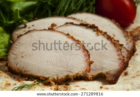 baked meat slices, selective focus - stock photo