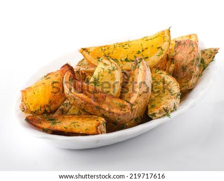 Baked Potato Wedges - stock photo