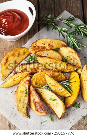 Baked potato wedges - stock photo