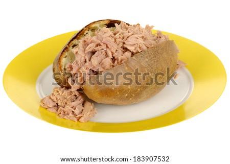 Baked Potato with Tuna - stock photo