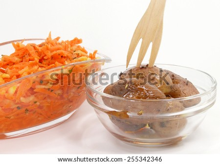 baked potatoes and  raw carrot salad - stock photo