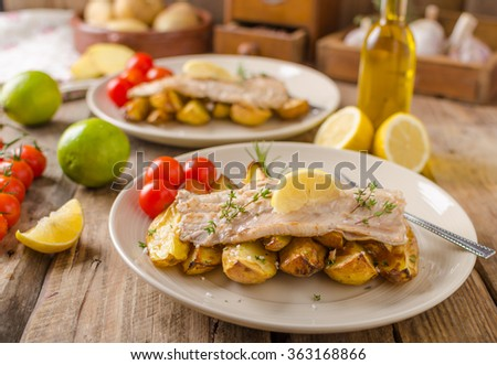 Baked rainbow trout with roasted potatoes and homemade mayonnaise
