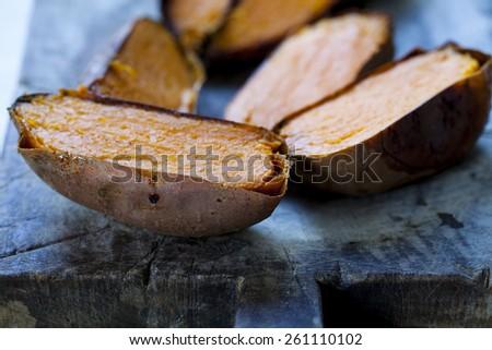 Baked sweet potato - stock photo