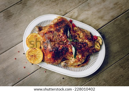 Baked tasty hot chicken on the white plate with vegetables - stock photo
