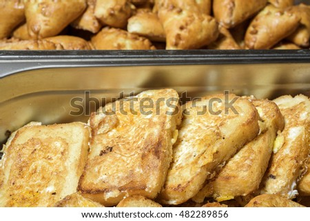 baked toast bread on the buffet