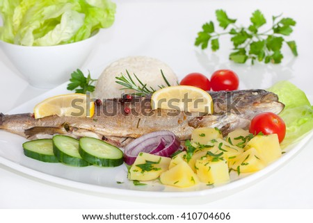 Baked trout with potato, cherry tomatoes and green salad - stock photo