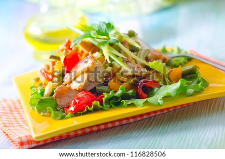 baked vegetable with chicken - stock photo