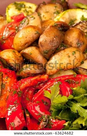 Baked vegetables: potato, pepper on plate. Vegetarian food - stock photo