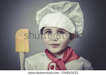 baker child dress funny chef, cooking utensils - stock photo