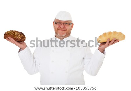 Baker holding white bread and wholewheat bread. All on white background.