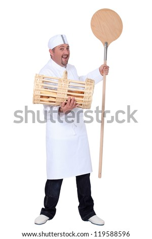 Baker shovel and basket of bread