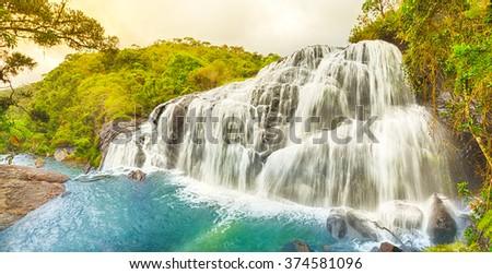 Bakers falls. Horton plains national park. Sri Lanka. Panorama - stock photo