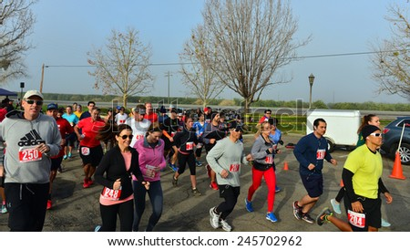 BAKERSFIELD, CA - JAN 17, 2015: People of all ages begin the less demanding five kilometer race as part of the Rio Bravo Rumble slate of activities. - stock photo