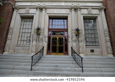 BAKERSFIELD, CA - MAY 8, 2016: The Bakersfield Californian is a newspaper continuously published since 1866. The building is listed on the National Register of Historic Places. - stock photo