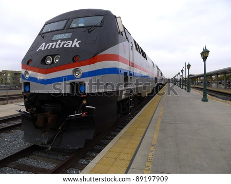 BAKERSFIELD, CA - NOV 20: This 1993 GE diesel electric locomotive is part of Amtrak's 40th Anniversary Train visiting the station on November 20, 2011, Bakersfield, California. - stock photo