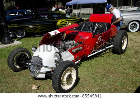 BAKERSFIELD, CA - SEPT 18: The Kern County Museum Auto Show features classic automobiles, such as this beautifully constructed hot rod, on display September 18, 2011, in Bakersfield, California.