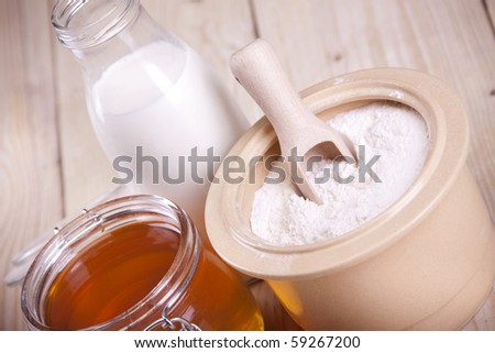 Bakery, baking bread and other tasty food, in natural way on wooden table! - stock photo
