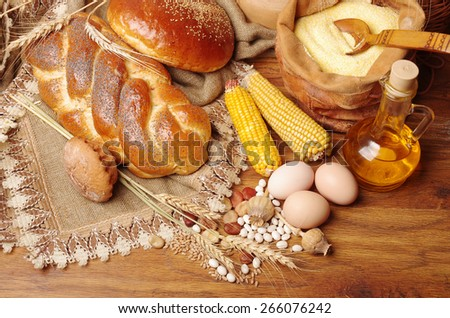 Bakery, corn, eggs,flour, grains