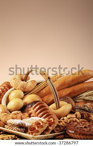 Bakery foodstuffs. Shot in a studio. - stock photo