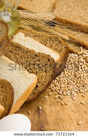 bakery products and basket on wood texture
