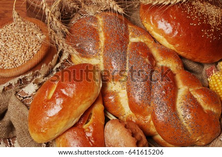 Bakery products on the wooden table