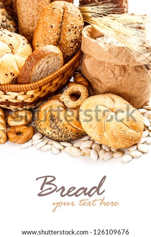 Bakery products on white background - stock photo