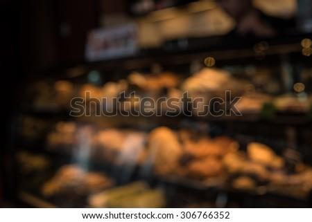 bakery shop blurred background - stock photo