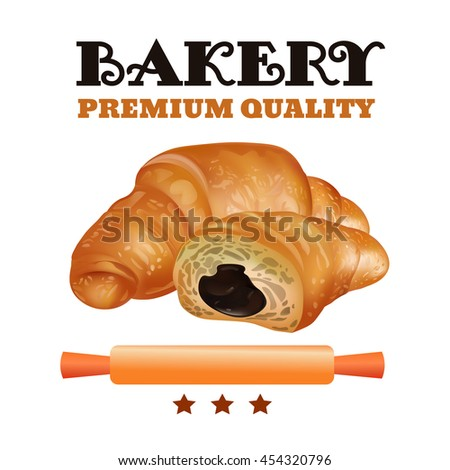 Bakery Shop Label Design Set. Fresh and Tasty Desserts. Premium Quality. Croissant , Ribbons and Stars.  - stock photo