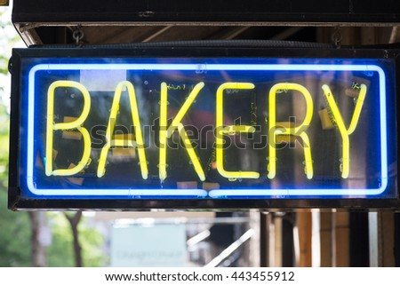 Bakery store neon sign background