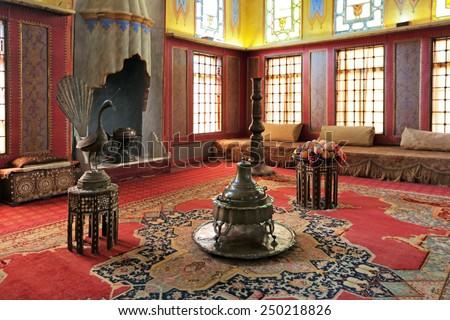 BAKHCHISARAY, REPUBLIC CRIMEA, RUSSIA - AUG 12, 2014: The interior of the Bakhchisaray Palace (Hansaray) the residence of the Crimean khans XVI century. Harem, living room - stock photo
