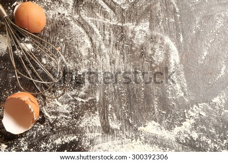 baking a cake or a bread ingredients background - stock photo