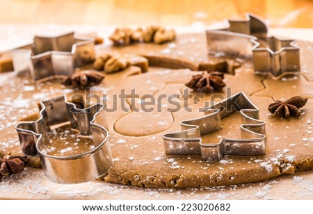 Baking Christmas gingerbread. - stock photo
