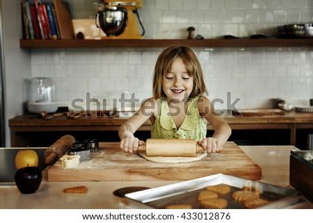 Baking Cookies Kid  Bakery Fun Concept - stock photo