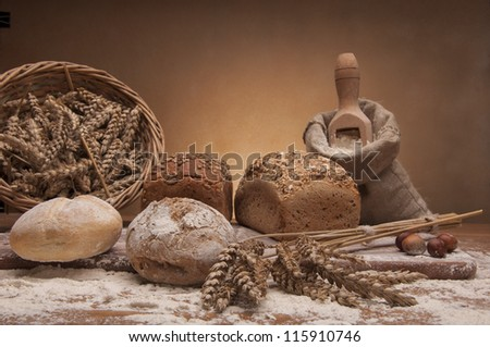 Baking goods on wooden table