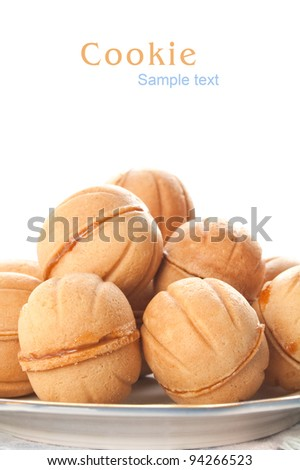 Baking in the shape of walnut isolated on white