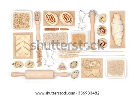 baking ingredients and tools on white background - stock photo