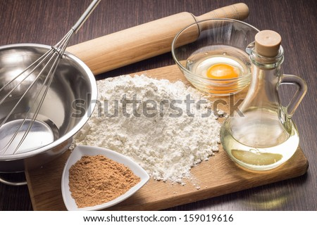 Baking ingredients background - stock photo