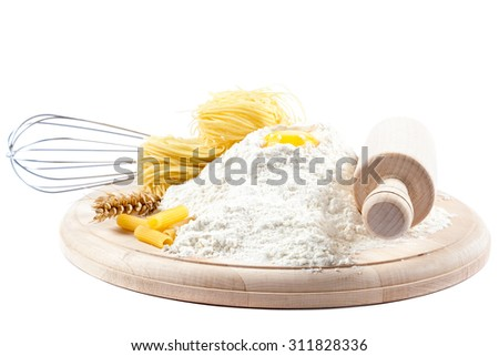 Baking ingredients for cooking isolated on white background. - stock photo