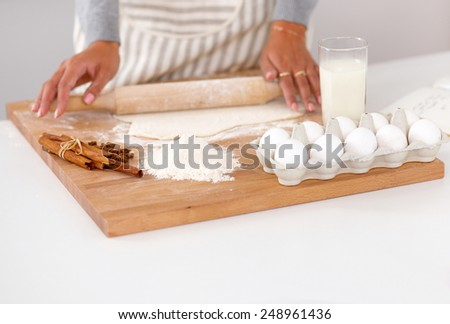 Baking ingredients for shortcrust pastry, plunger - stock photo